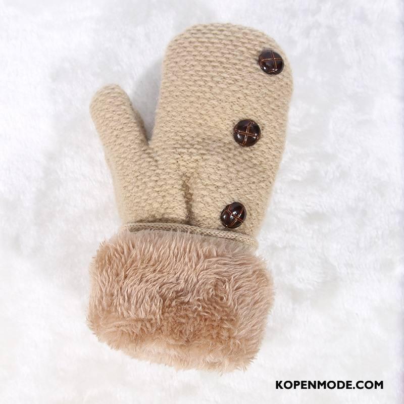 Handschoenen Dames Blijf Warm Vrouwen Touchscreen Schattig Mini Winter Beige