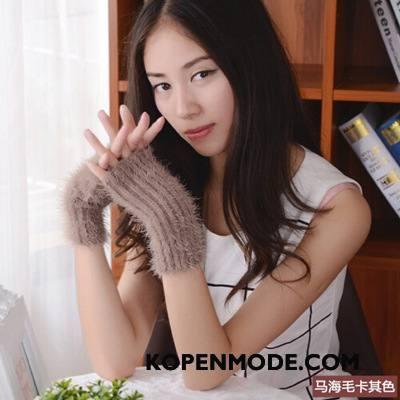 Handschoenen Dames Blijf Warm Winter Halve Vinger Wollen Schattig Vrouwen Kaki
