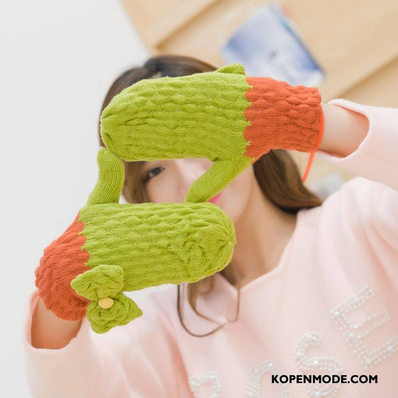 Handschoenen Dames Blijf Warm Winter Student Schattig Vlinderdas Verdikken Groen