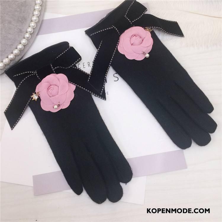 Handschoenen Dames Bloemen Pluche Kasjmier Strass Touchscreen Vrouwen Roze Zwart
