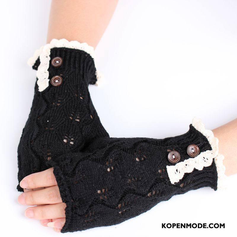 Handschoenen Dames Breien Europa Wollen Kant Blijf Warm Halve Vinger Zwart
