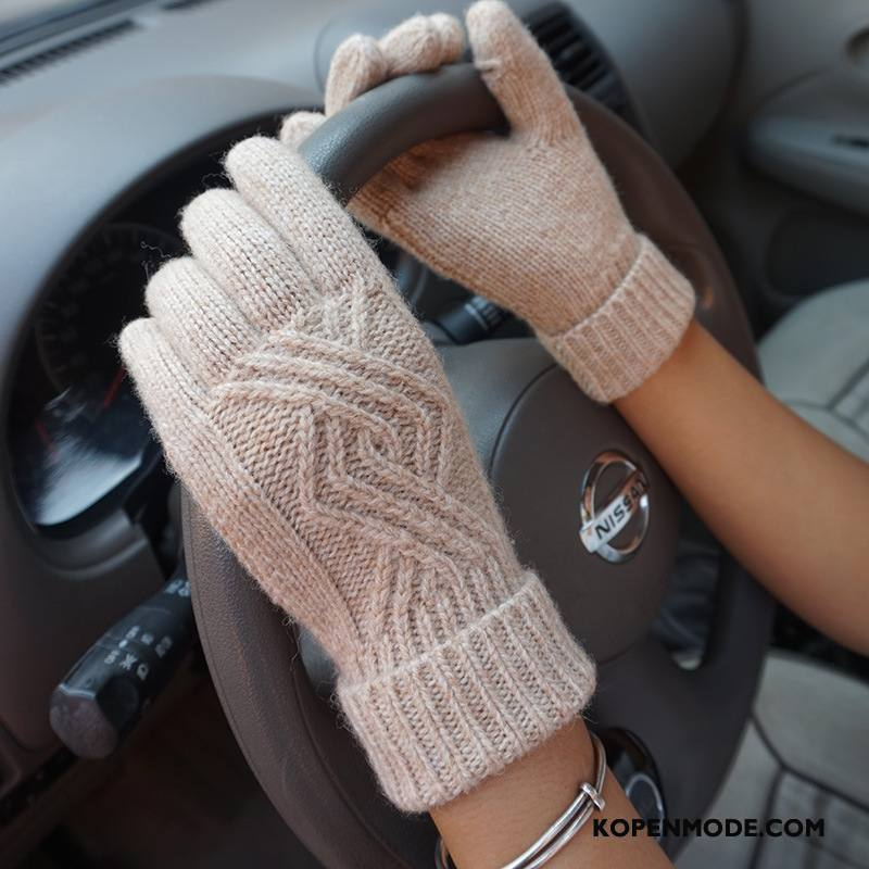 Handschoenen Dames Cyclus Blijf Warm Bloemen Touchscreen Herfst Winter Grijs