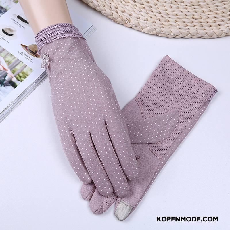 Handschoenen Dames Dun Zonnebrandcrème Vrouwen Zomer 2018 Touchscreen Purper