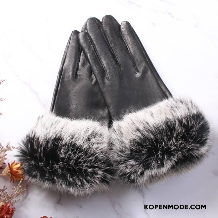 Handschoenen Dames Echt Leer Simpele Blijf Warm Pluche Twee Kleuren Konijnenbont Wit Zwart