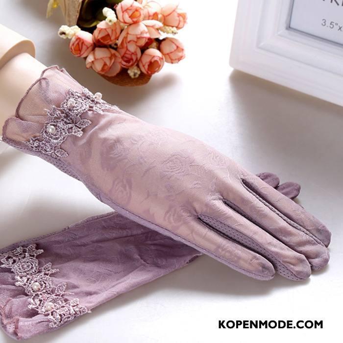 Handschoenen Dames Geborduurde Fiets Voorjaar 2018 Rit Korte Purper