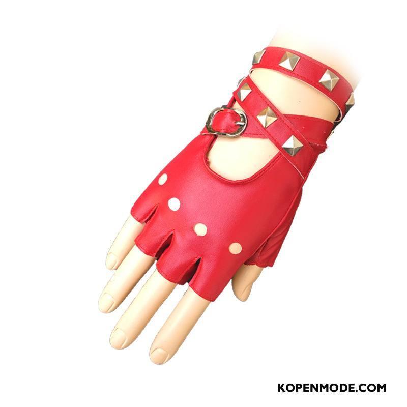 Handschoenen Dames Halve Vinger Persoonlijkheid Vrouwen Klinknagel Speciale Rood