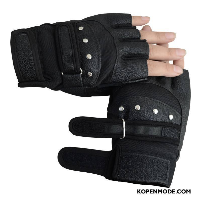 Handschoenen Dames Halve Vinger Vrouwen Mannen Sport Fiets Gym Zwart