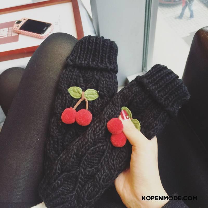 Handschoenen Dames Herfst Winter Schattig Verdikken Blijf Warm Wollen Zwart