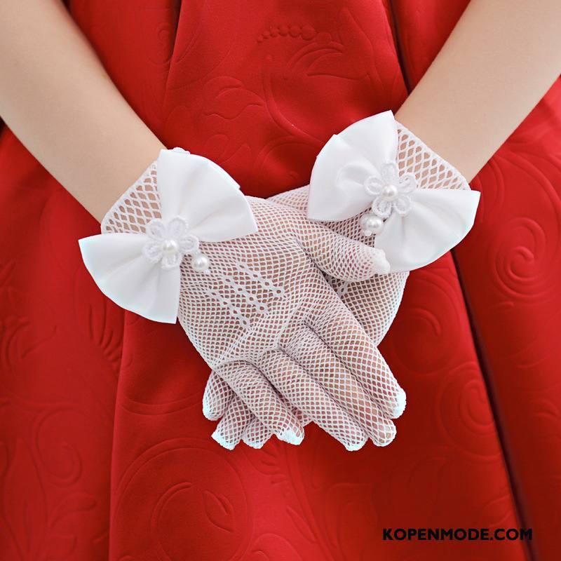 Handschoenen Dames Jurk Bloemen Kind Prinses Korte Wit