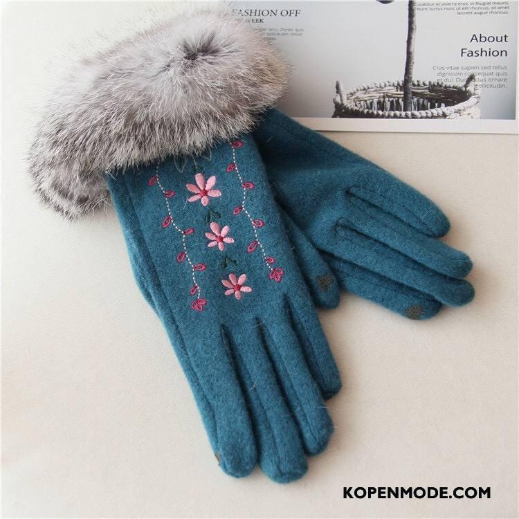 Handschoenen Dames Konijnenbont Blijf Warm Winter Pluche Borduurwerk Vintage Blauw