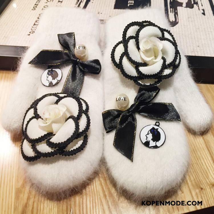 Handschoenen Dames Konijnenbont Groot Blijf Warm Origineel Winter Met De Hand Wit