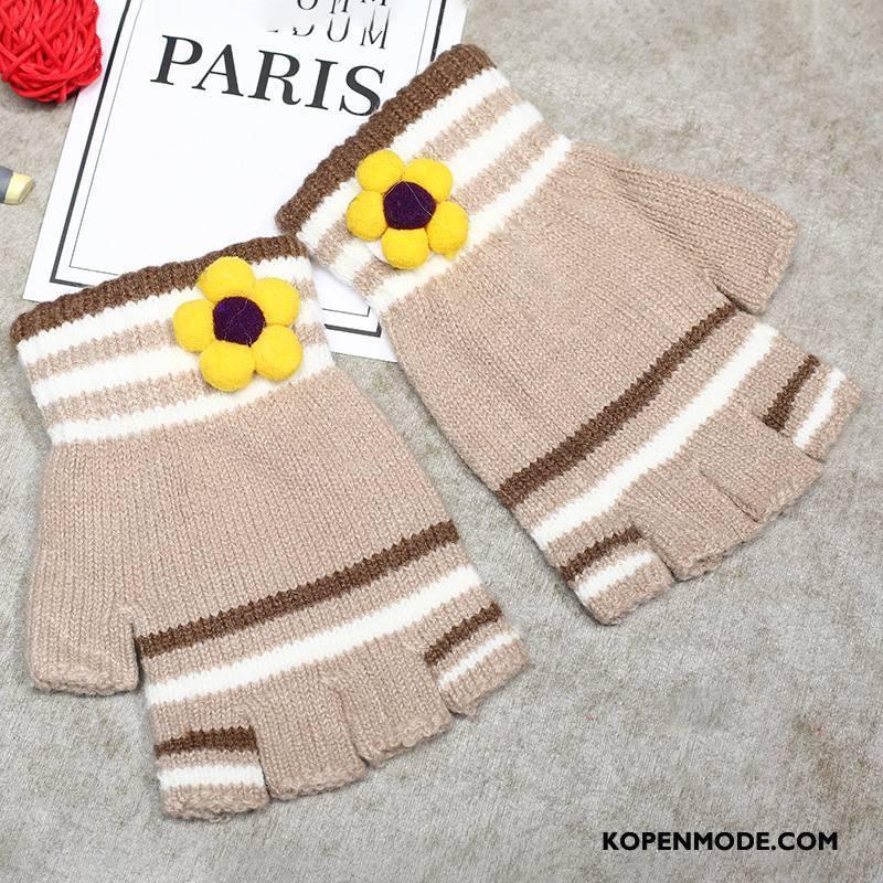 Handschoenen Dames Korte Blijf Warm Vrouwen Kasjmier Halve Vinger Wollen Licht