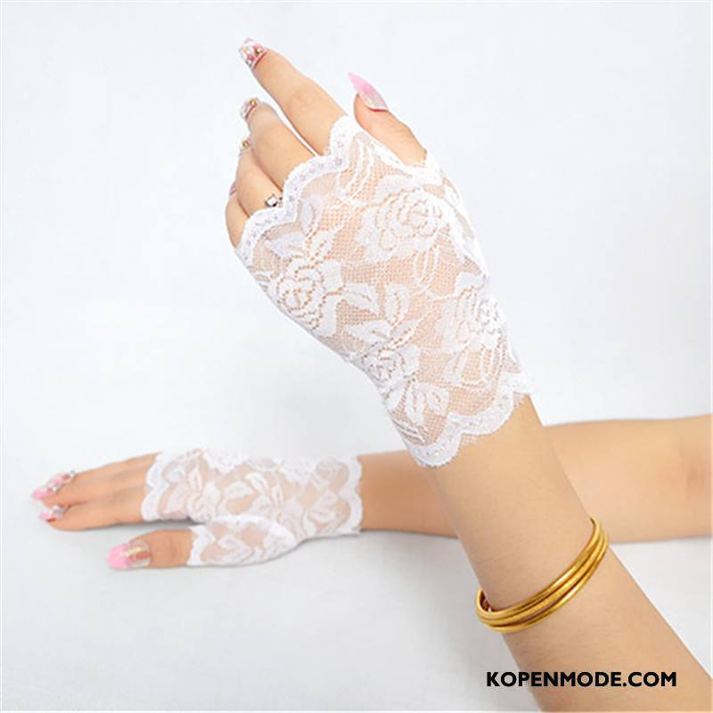 Handschoenen Dames Korte Zonnebrandcrème Halve Vinger Zomer Dun Vrouwen Purper Wit Zwart