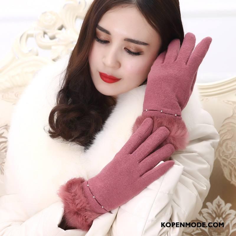 Handschoenen Dames Leer Blijf Warm Konijnenbont Wol Trend Vrouwen Roze