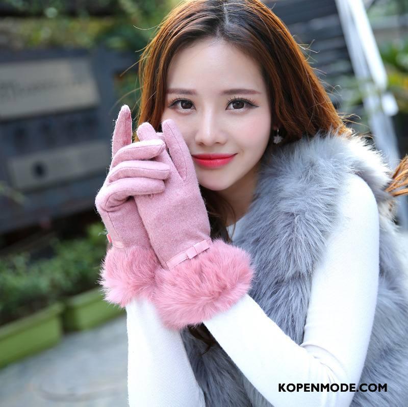 Handschoenen Dames Mode Touchscreen Vrouwen Konijnenbont Winter Herfst Roze