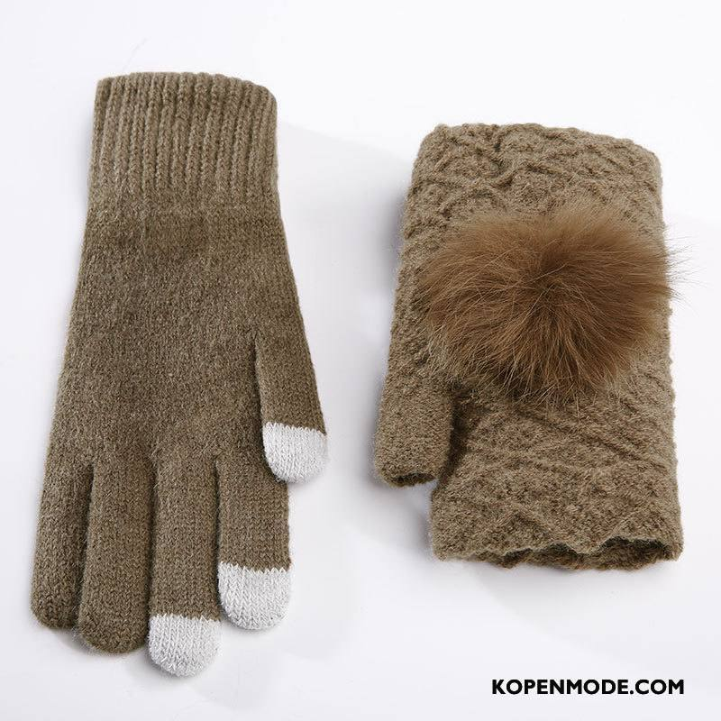 Handschoenen Dames Paardrijden Vrouwen Pluche Winter Pompom Schattig