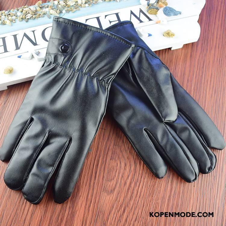 Handschoenen Dames Pu-leer Mannen Winter Waterdicht Paardrijden Blijf Warm Zwart