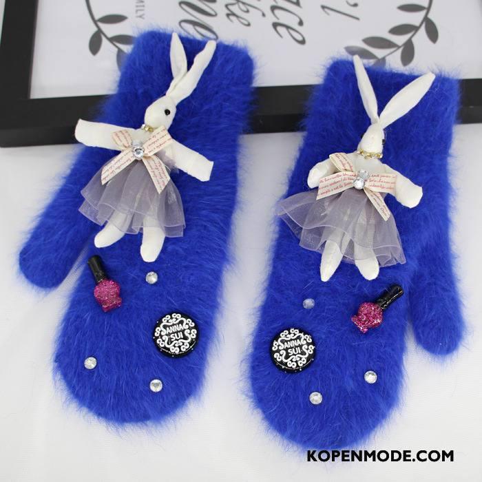 Handschoenen Dames Schattig Konijnenbont Vrouwen Blijf Warm Winter Nieuw Marineblauw