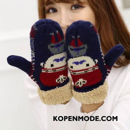 Handschoenen Dames Student Blijf Warm Verdikken Winter Pluche Trend Marineblauw