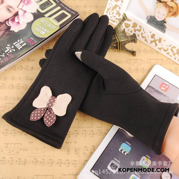 Handschoenen Dames Student Touchscreen Herfst Pluche Meisje Fluweel Zwart
