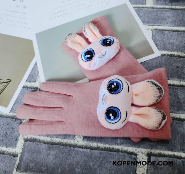 Handschoenen Dames Touchscreen Verdikken Wol Vrouwen Lang Autorijden Roze
