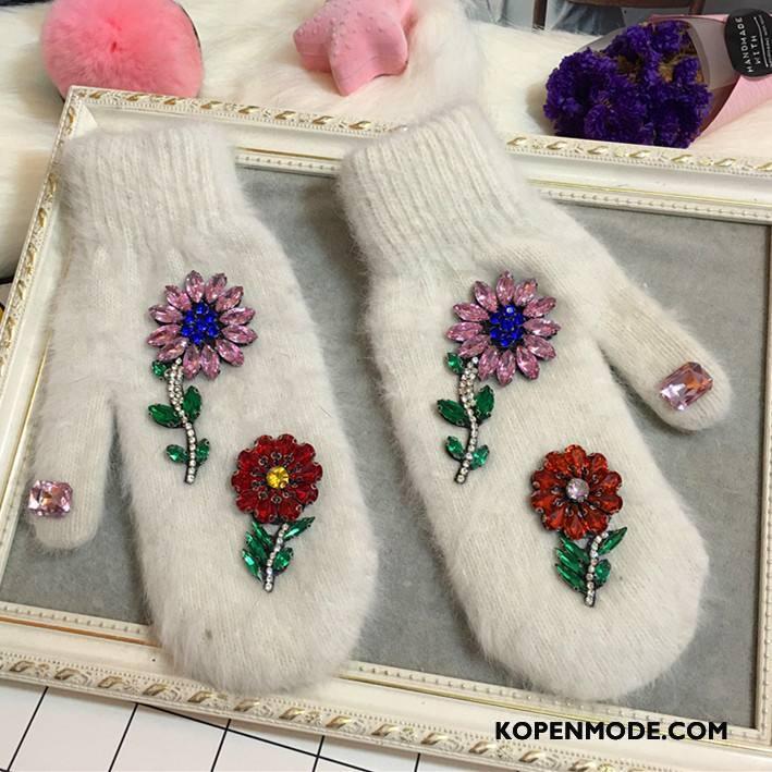 Handschoenen Dames Trend Blijf Warm Dubbele Konijnenbont Super Bloemen Wit