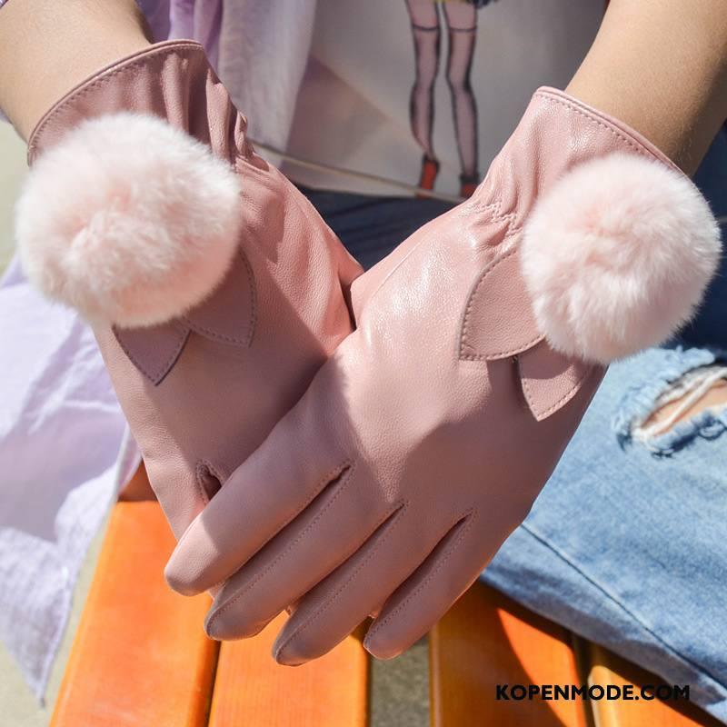 Handschoenen Dames Verdikken Pluche Konijn Blijf Warm Touchscreen Winter Roze