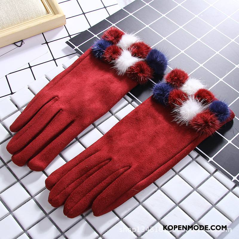 Handschoenen Dames Verdikken Schattig Touchscreen Vrouwen Winter Student Rode Wijn