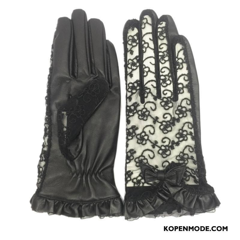 Handschoenen Dames Vrouwen Autorijden Vlinderdas Schapenleer Kant Mode Zwart