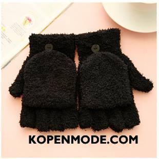 Handschoenen Dames Vrouwen Heet Winter Fluweel Blijf Warm Halve Vinger Zwart