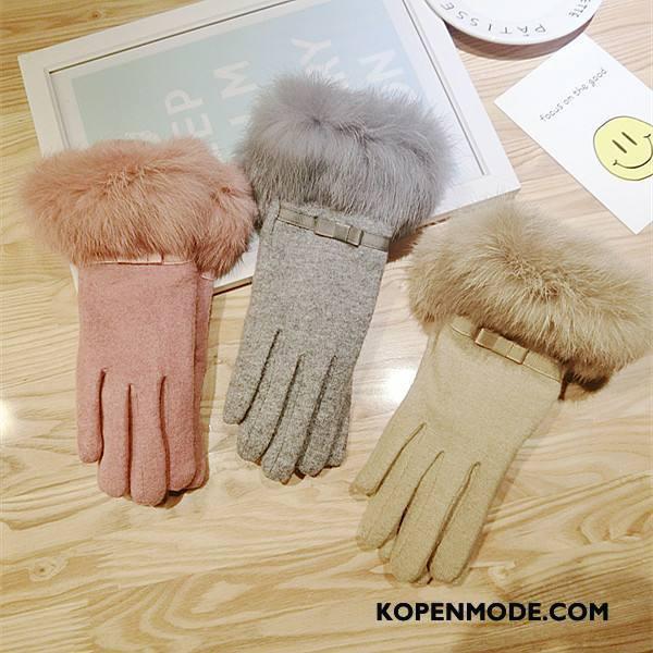 Handschoenen Dames Vrouwen Winter Alle Wedstrijden Wol Fluweel Blijf Warm Kaki