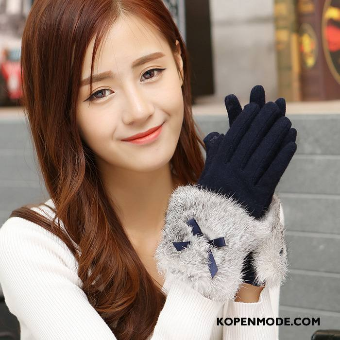 Handschoenen Dames Winter Blijf Warm Schattig Nieuw Touchscreen Konijnenbont Marineblauw