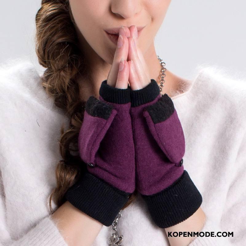 Handschoenen Dames Winter Blijf Warm Verdikken Vrouwen Wol Halve Vinger Purper