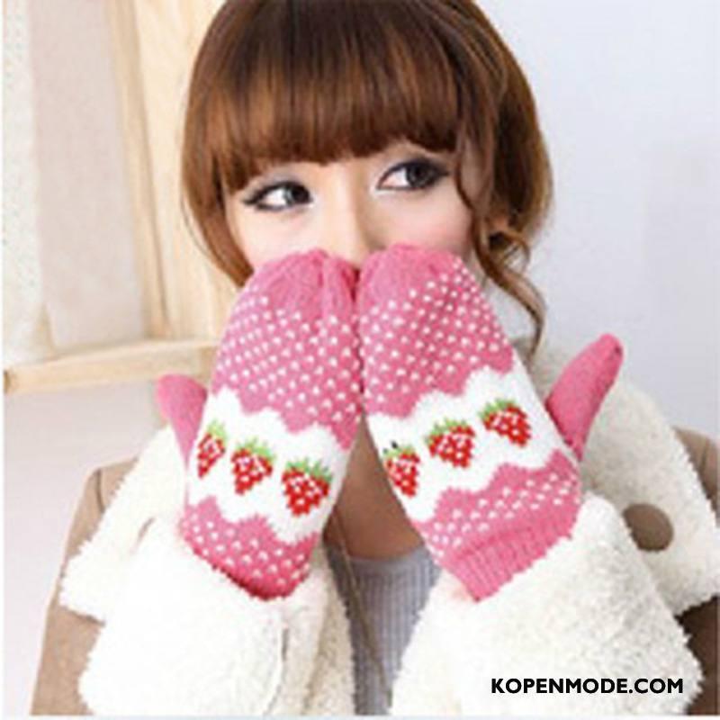 Handschoenen Dames Winter Verdikken Wollen Schattig Aardbei Blijf Warm Roze