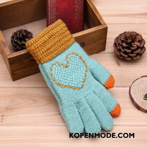 Handschoenen Dames Wol Breien Vrouwen Winter Liefde Geborduurde Blauw