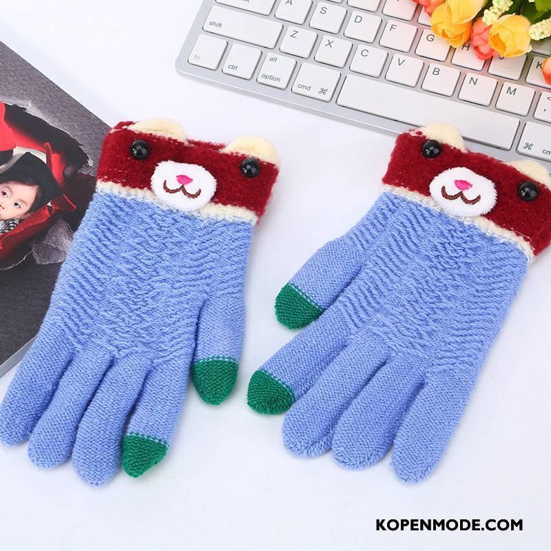Handschoenen Dames Wollen Paardrijden Volwassen Herfst Student Breien Gemengde Kleuren Blauw