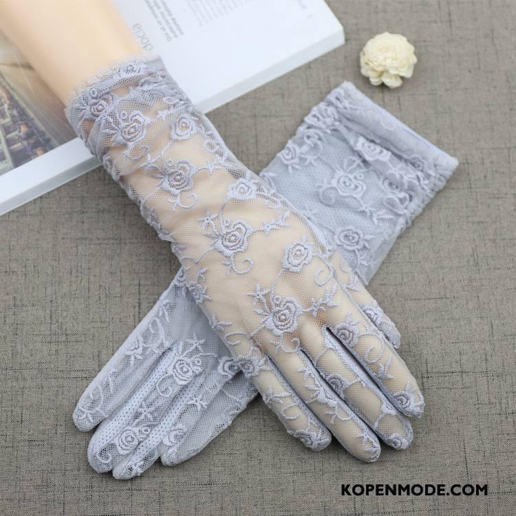 Handschoenen Dames Zonnebrandcrème Autorijden Kant Zomer Vrouwen Lang Blauw Purper