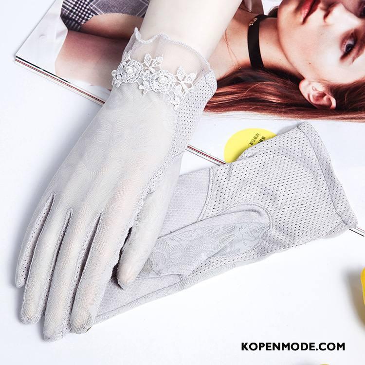 Handschoenen Dames Zonnebrandcrème Dun Zomer Korte Autorijden Vrouwen Grijs