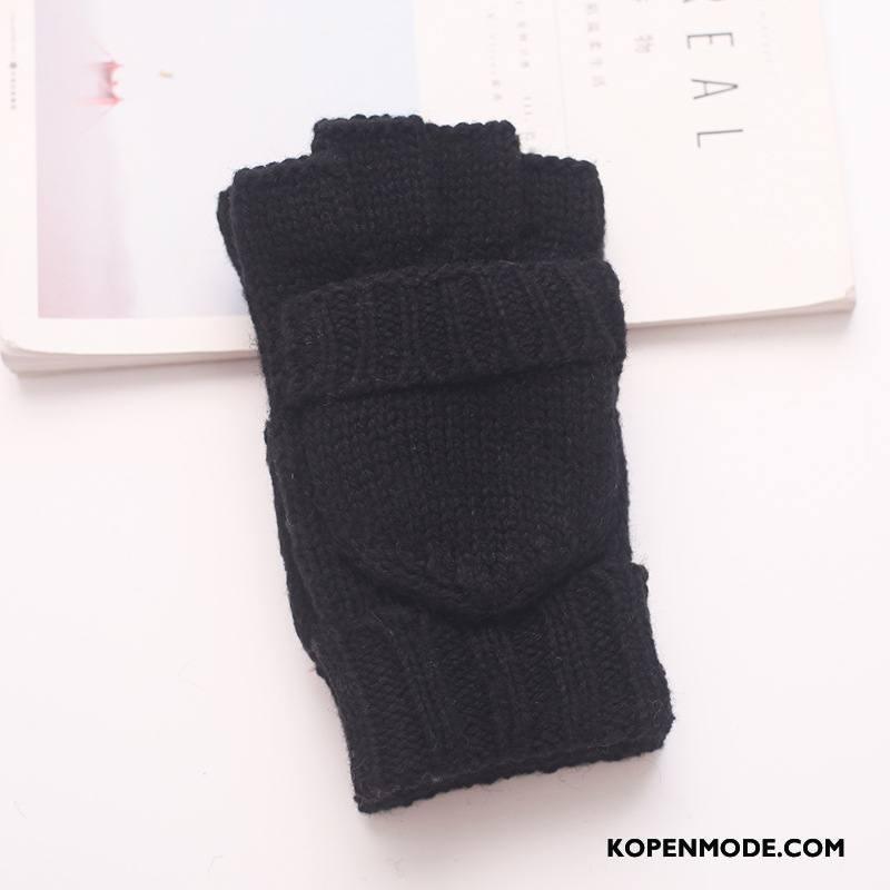 Handschoenen Heren Dubbele Pluche Winter Dual Gebruik Blijf Warm Wol Zwart