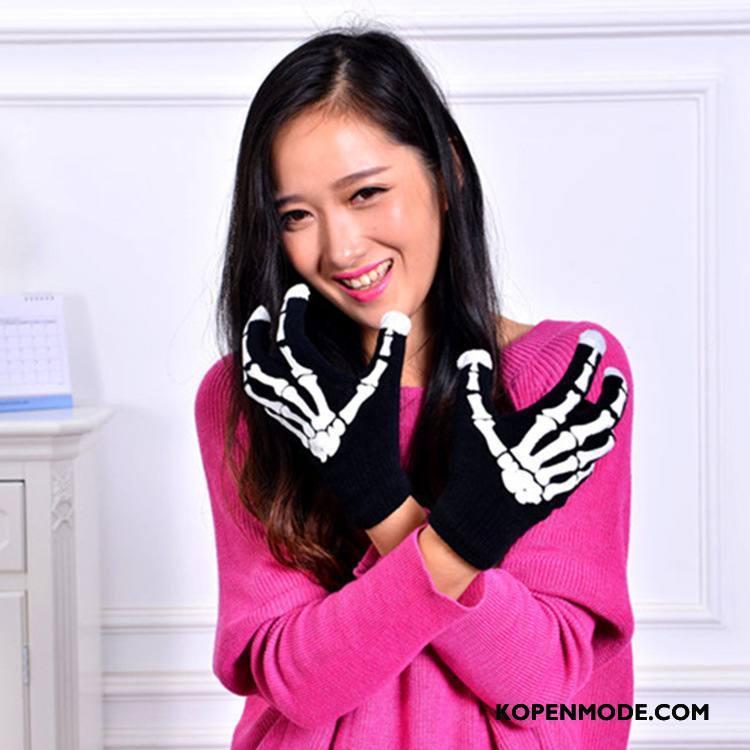 Handschoenen Heren Herfst Winter Van Katoen Mannen Mode Wol Zwart
