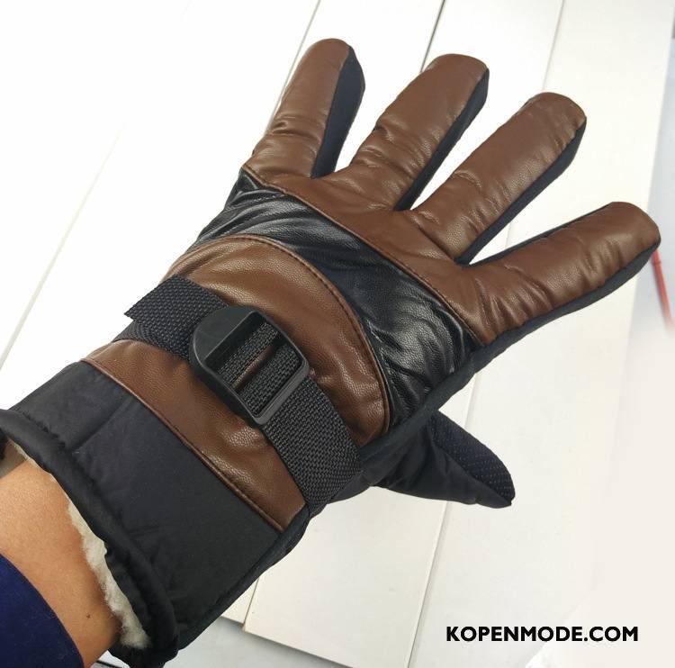 Handschoenen Heren Leer Blijf Warm Winter Waterdicht Cyclus Antislip Bruine