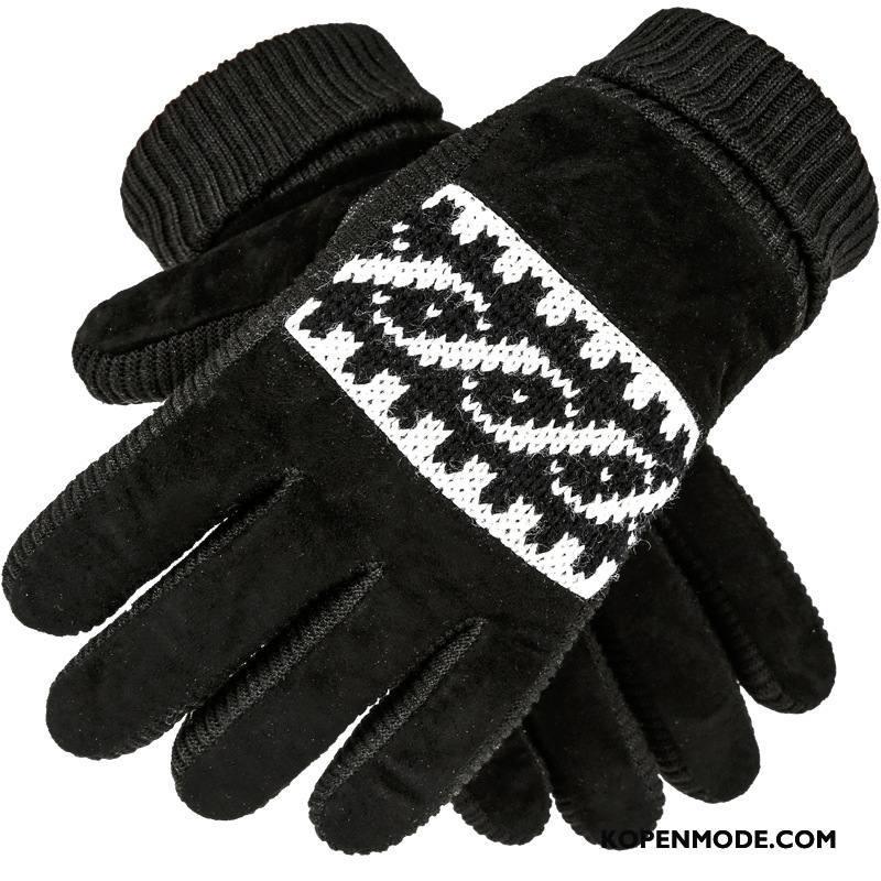 Handschoenen Heren Leer Paardrijden Winter Cyclus Outdoor Motorfiets Zwart