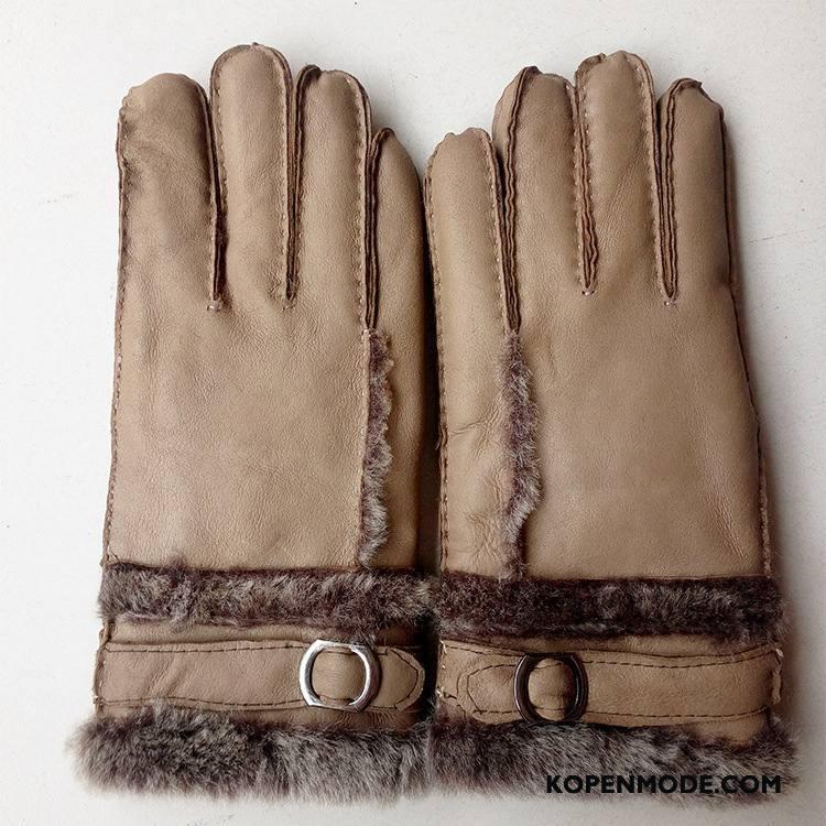 Handschoenen Heren Leer Winter Schapenleer Echt Leer Nieuw Verdikken Kaki