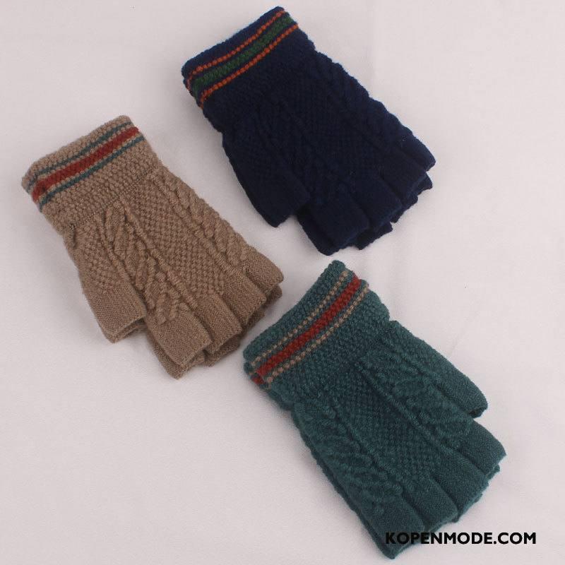 Handschoenen Heren Mannen Blijf Warm Vrouwen Bloemen Winter Halve Vinger Blauw