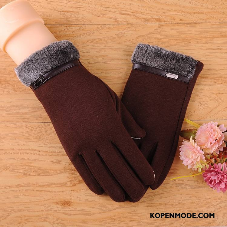 Handschoenen Heren Mannen Cyclus Fluweel Nieuw Herfst Winter Bruine