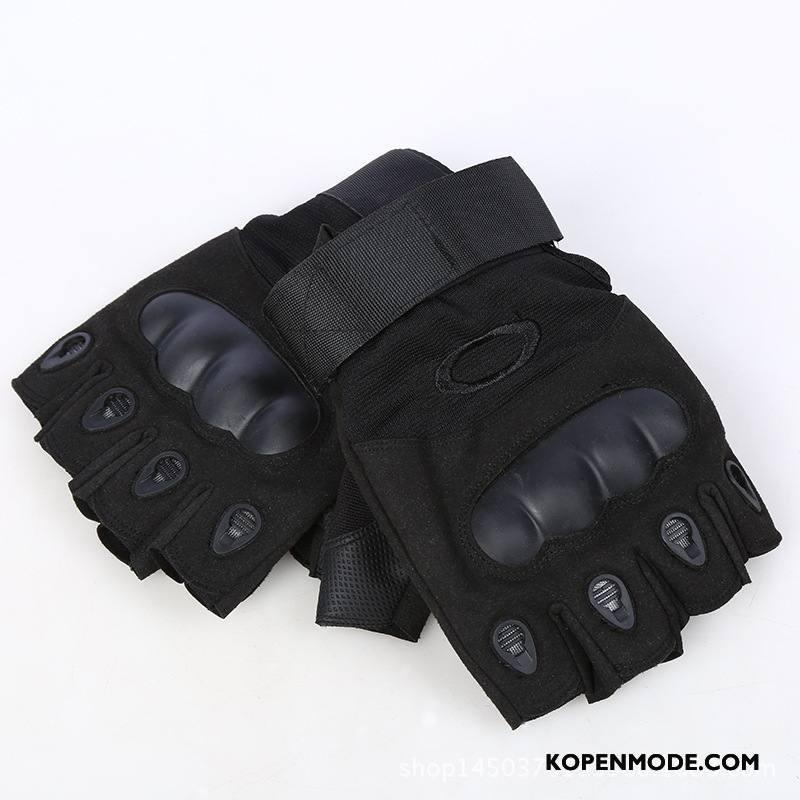 Handschoenen Heren Mannen Geschiktheid Sport Tactiek Halve Vinger Zwart