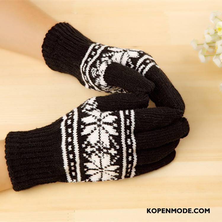 Handschoenen Heren Mannen Mode Sneeuwvlok Vijf Vingers Breien Winter Zwart