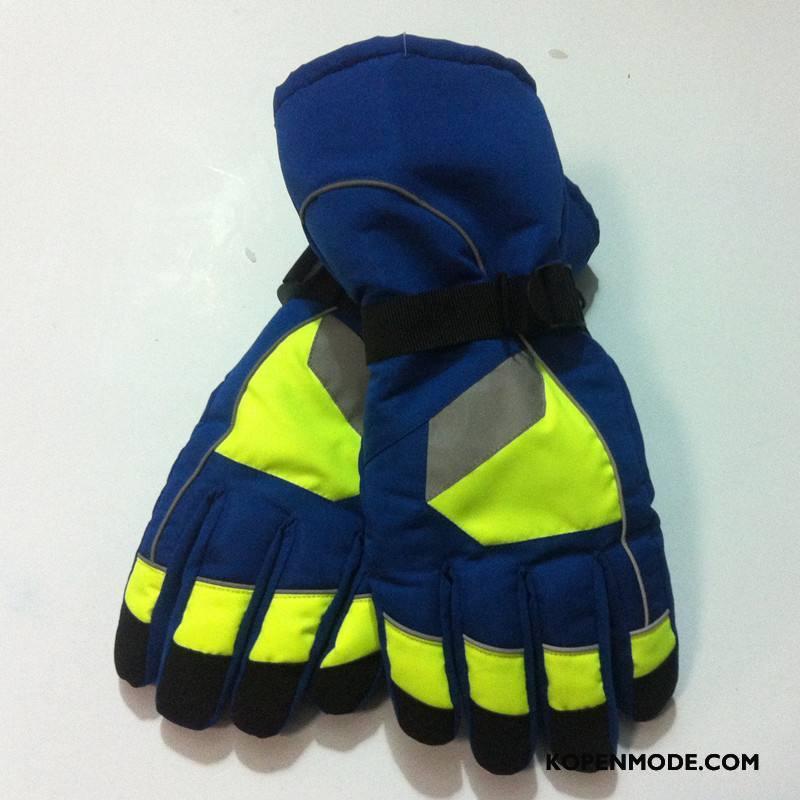 Handschoenen Heren Mannen Skiën Blijf Warm Sport Waterdicht Lichtende Nachtwolken Groen