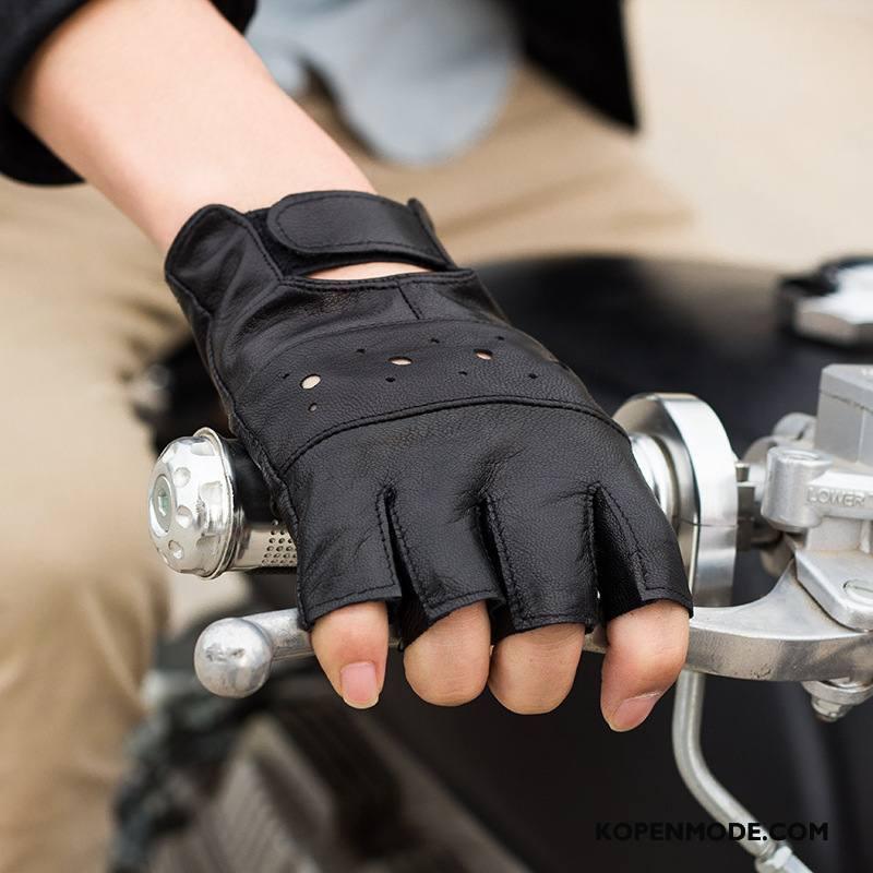 Handschoenen Heren Mannen Worstelen Tactiek Herfst Outdoor Schapenleer Zwart