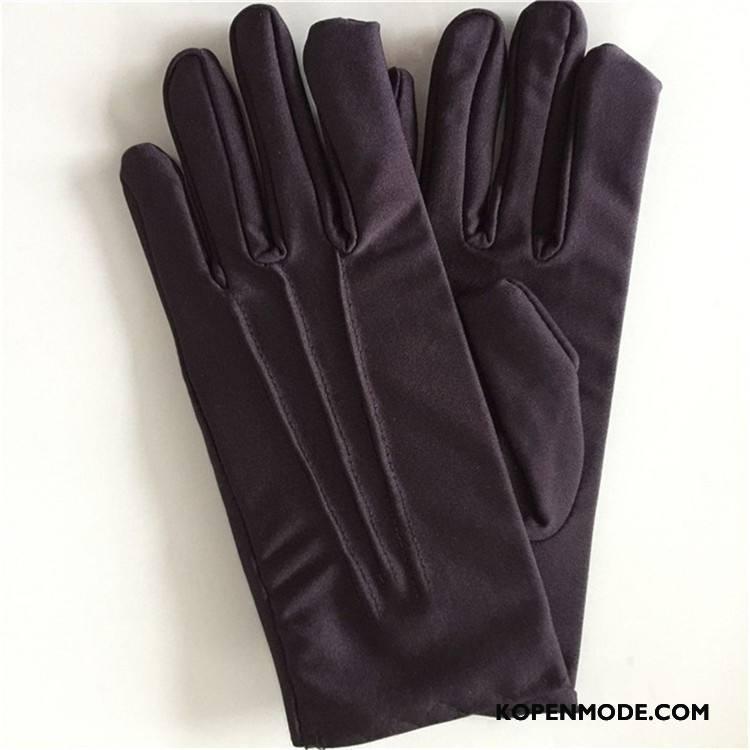 Handschoenen Heren Mannen Zomer Zonnebrandcrème Elastiek Autorijden Wit Zwart